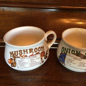 Vintage Soup Bowls w Recipes Mushroom & Onion Soup
